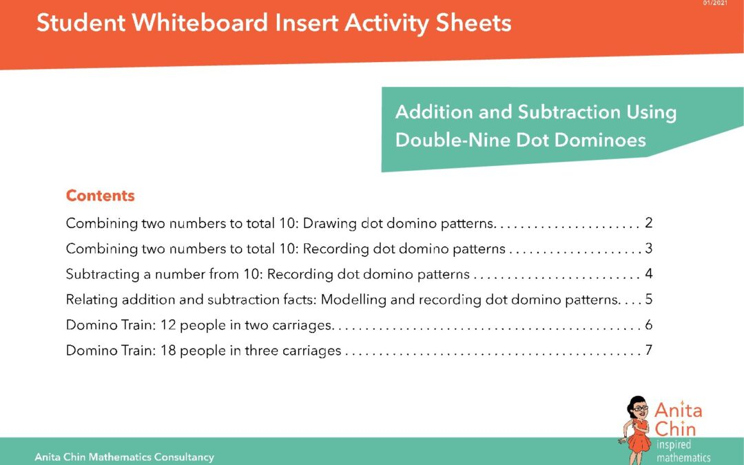 WHITEBOARD ACTIVITY INSERTS | Addition and Subtraction Using Double-Nine Dot Dominoes
