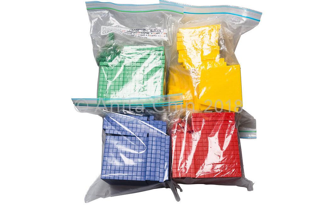 EQUIPMENT | Base Ten Blocks: Class Kit Y5-6 (packaged in snap lock bags)